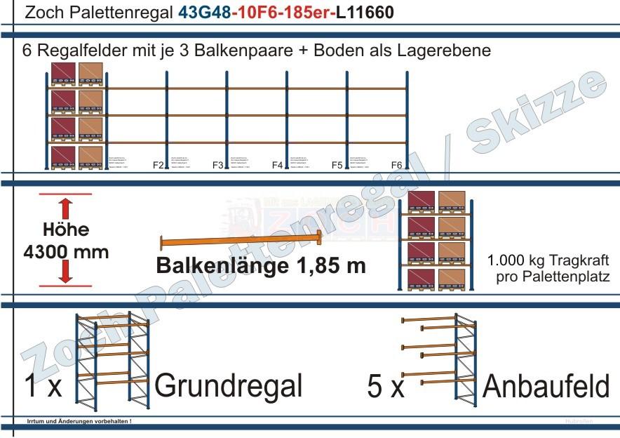 Palettenregal 43G48-10F6 Länge:11660 mm mit 1000 kg je Palettenplatz