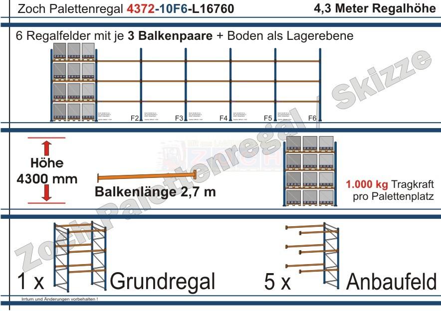 Palettenregal 43G72-10F6 Länge: 16760 mm mit 1000 kg je Palettenplatz