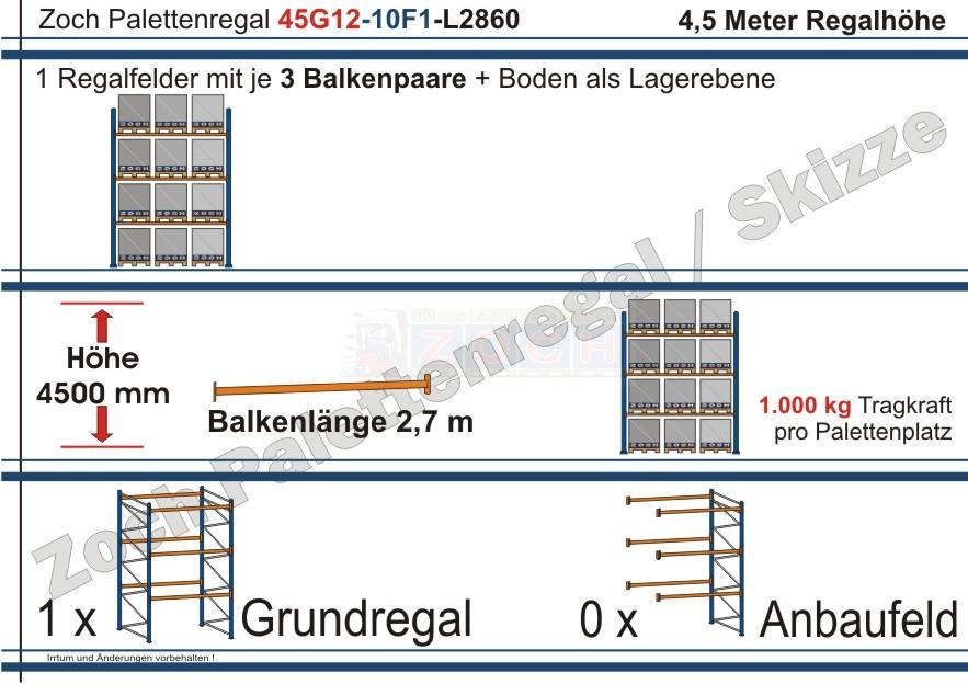 Palettenregal 45G12-10F1 Länge: 2860 mm mit 1000kg je Palettenplatz