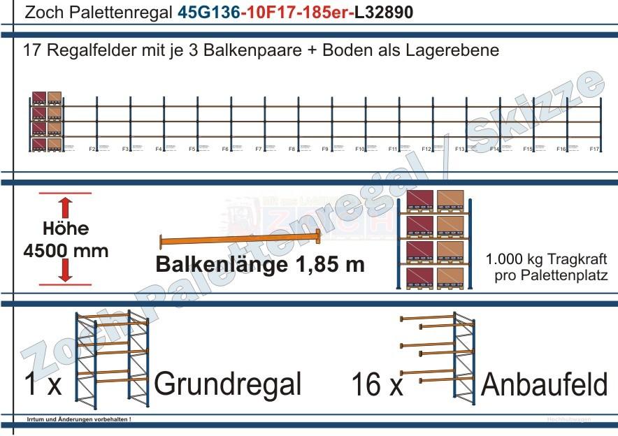 Palettenregal 45G136-10F17 Länge: 32890 mm mit 1000 kg je Palettenplatz