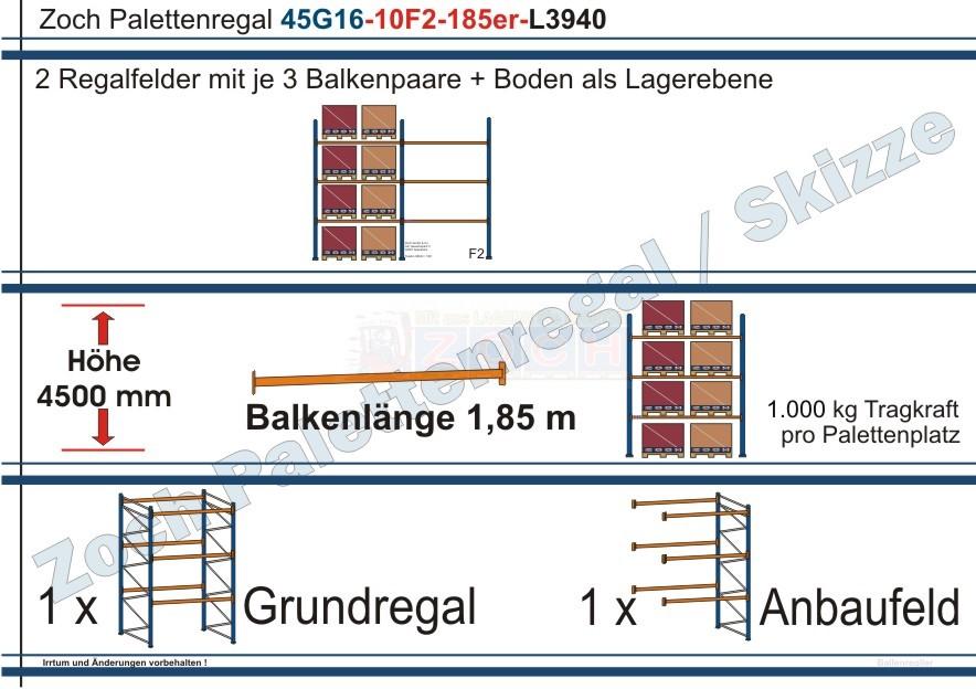 Palettenregal 45G16-10F2 Länge: 3940 mm mit 1000 kg je Palettenplatz