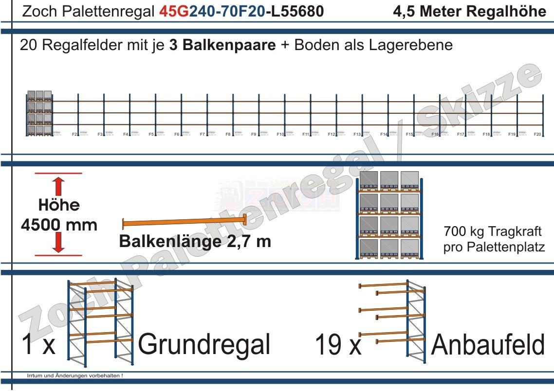 Palettenregal 45G240-70F20 Länge: 55680 mm mit 700kg je Palettenplatz