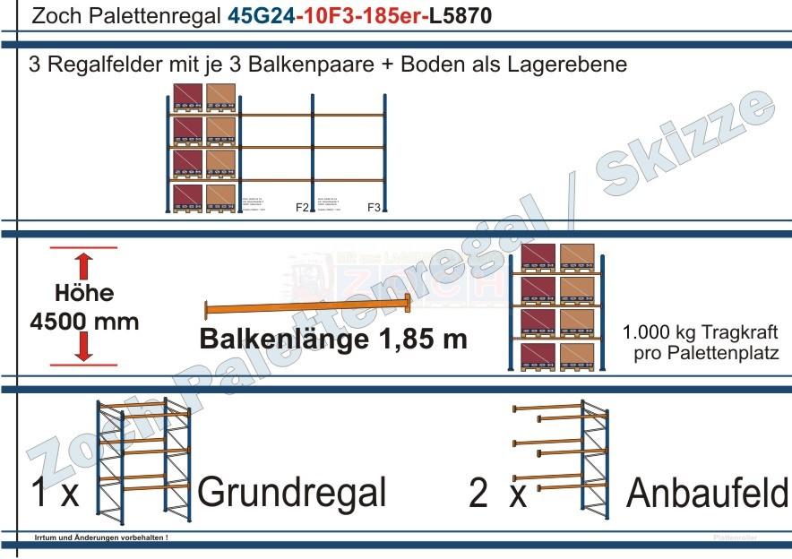 Palettenregal 45G24-10F3 Länge: 5870 mm mit 1000 kg je Palettenplatz