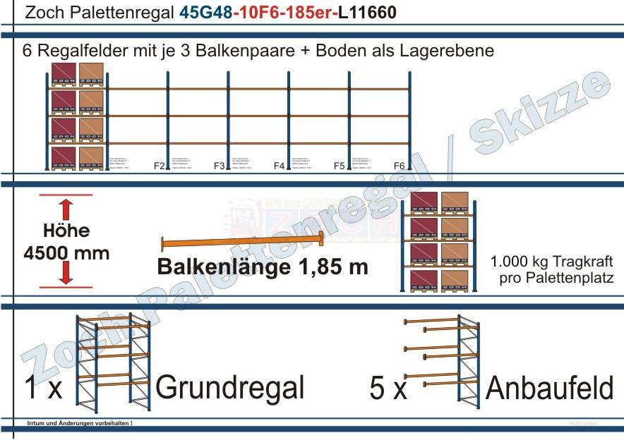 Palettenregal 45G48-10F6 Länge:11660 mm mit 1000 kg je Palettenplatz