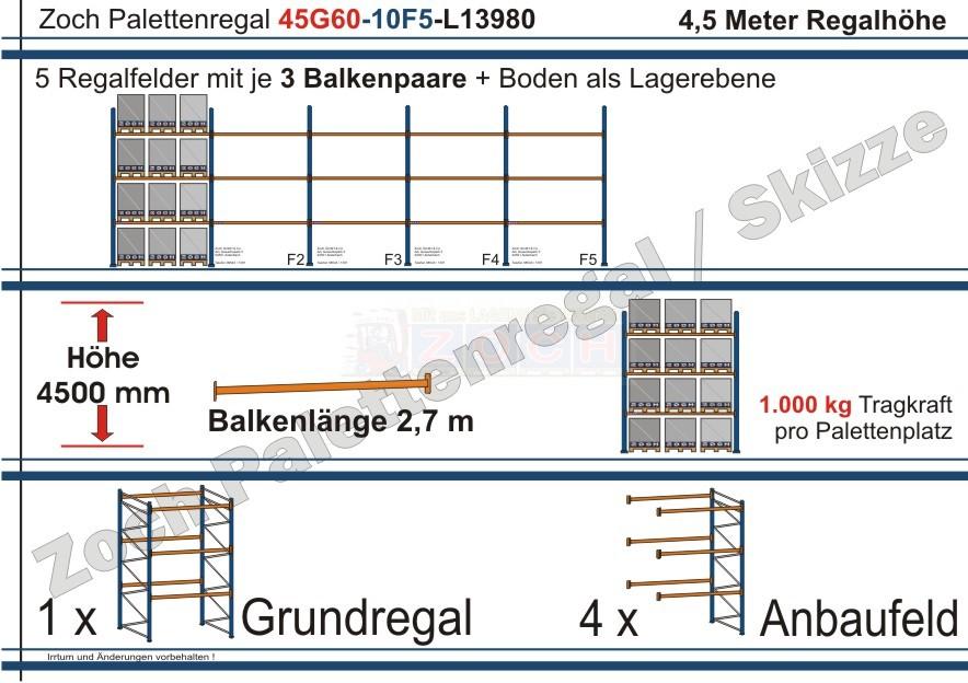 Palettenregal 45G60-10F5 Länge: 13980 mm mit 1000kg je Palettenplatz