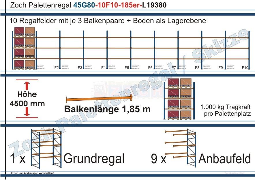Palettenregal 45G80-10F10 Länge:19380 mm mit 1000 kg je Palettenplatz