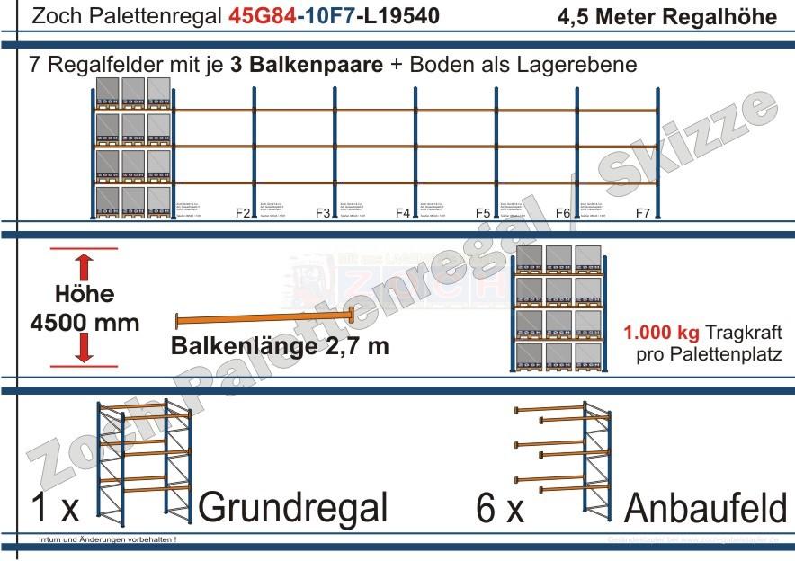 Palettenregal 45G84-10F7 Länge: 19540 mm mit 1000kg je Palettenplatz