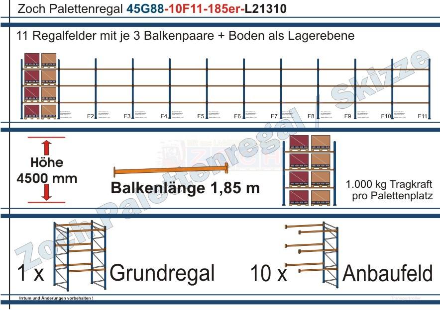 Palettenregal 45G88-10F11 Länge: 21310 mm mit 1000 kg je Palettenplatz