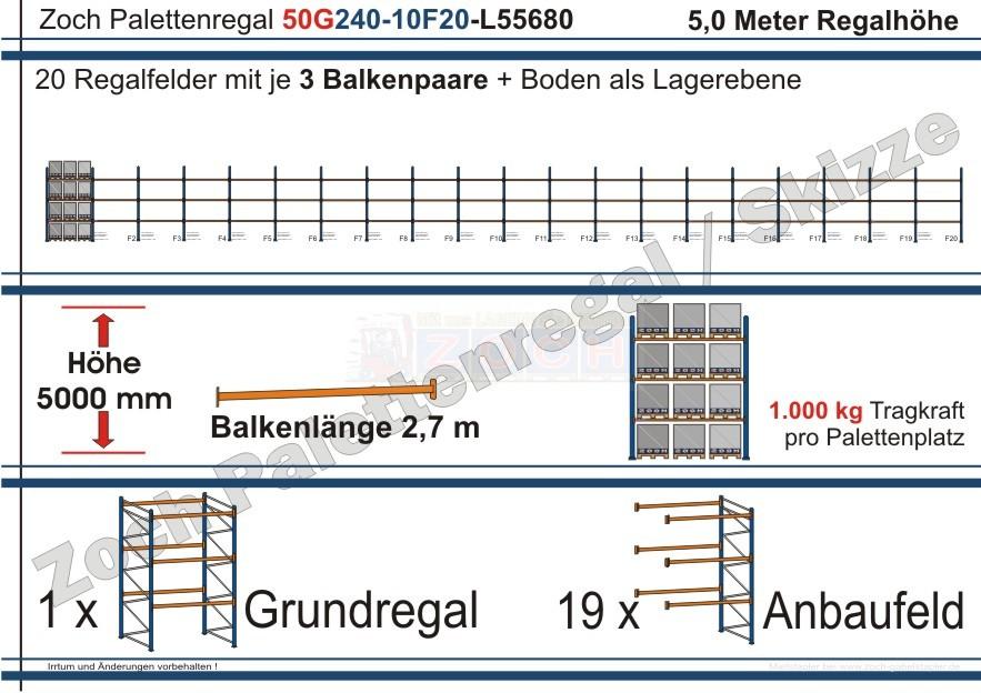 Palettenregal 50G240-10F20 Länge: 55680 mm mit 1000 kg je Palettenplatz