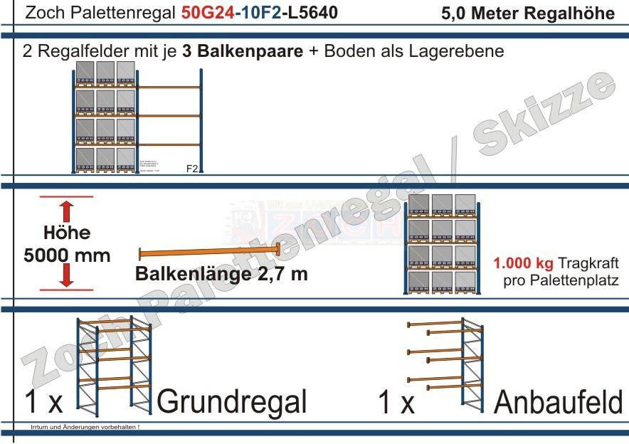 Palettenregal 50G24-10F2 Länge: 5640 mm mit 1000 kg je Palettenplatz