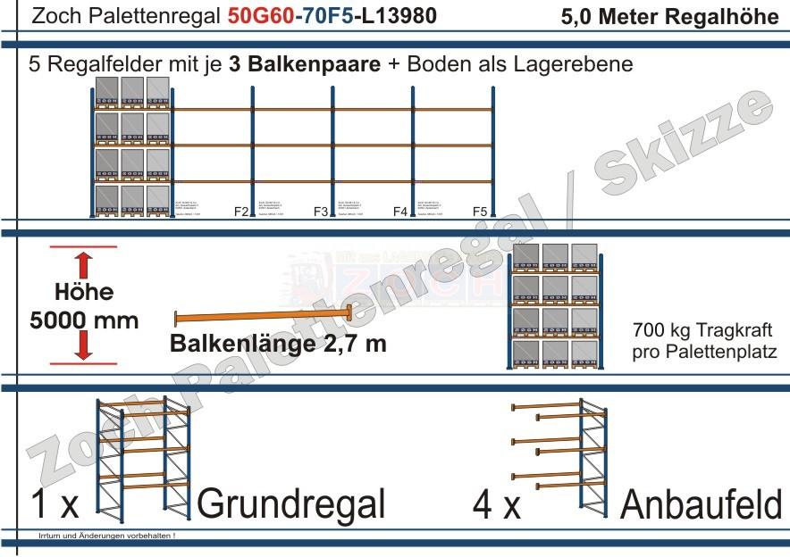 Palettenregal 50G60-70F5 Länge: 13980 mm mit 700kg je Palettenplatz
