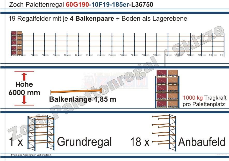 Palettenregal 60G190-10F19 Länge: 36750 mm mit 1000 kg je Palettenplatz