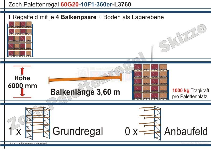 Palettenregal 60G20-10F1 Länge: 3760 mm mit 1000kg je Palettenplatz