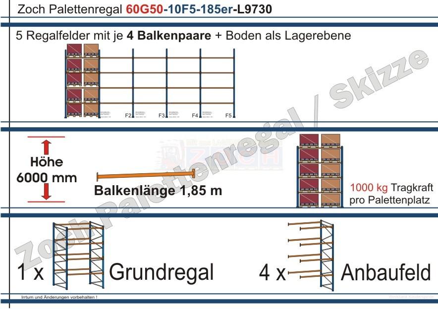 Palettenregal 60G50-10F5 Länge: 9730 mm mit 1000 kg je Palettenplatz