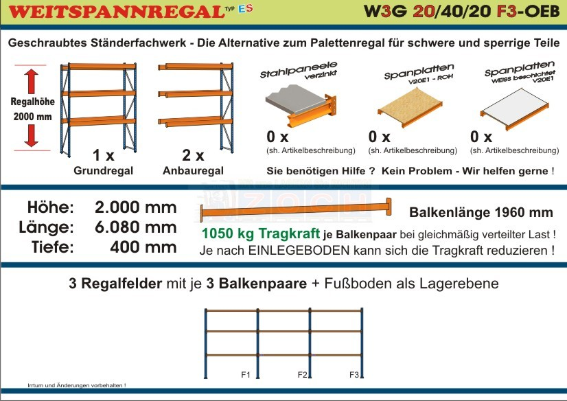 Zoch Weitspannregal W3G 20/40-20F3 Länge 6080 mm