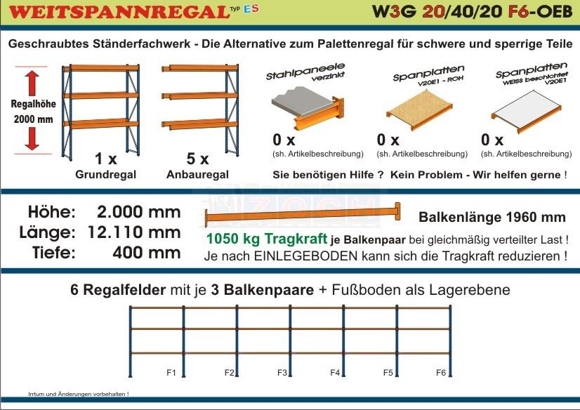 Zoch Weitspannregal W3G 20/40-20F6 Länge 12110 mm