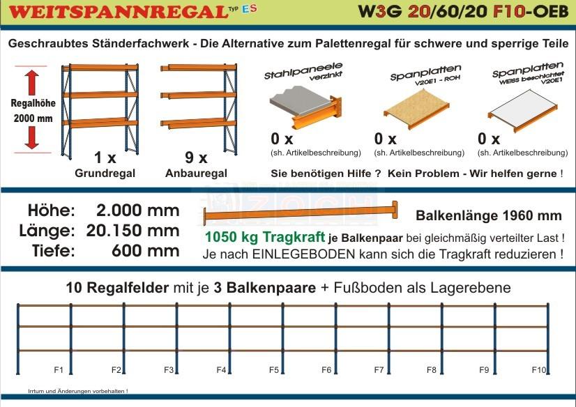 Weitspannregal W3G 20/60-20F10 Länge 20150 mm