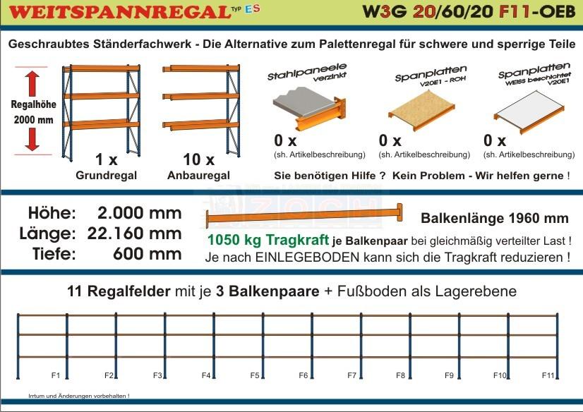 Weitspannregal W3G 20/60-20F11 Länge 22160 mm