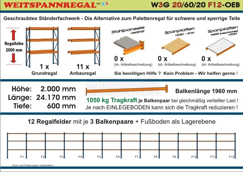 Weitspannregal W3G 20/60-20F12 Länge 24170 mm