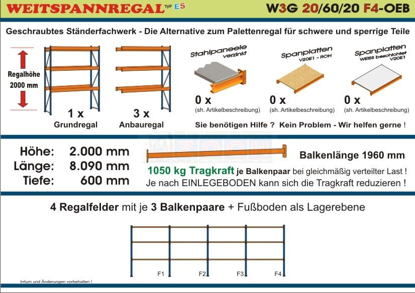 Weitspannregal W3G 20/60-20F4 Länge 8090 mm