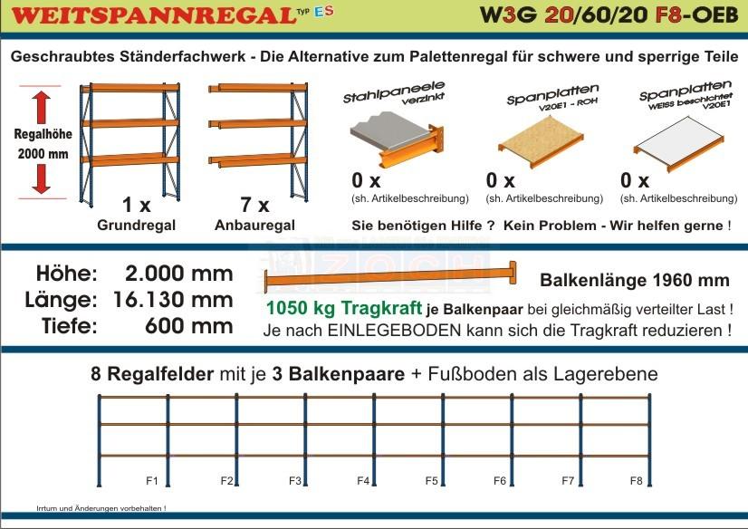 Weitspannregal W3G 20/60-20F8 Länge 16130 mm