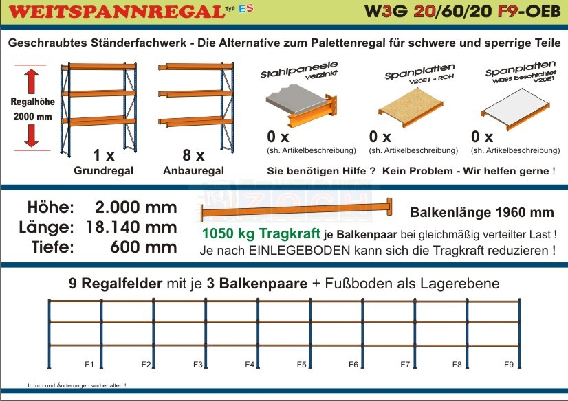 Weitspannregal W3G 20/60-20F9 Länge 18140 mm
