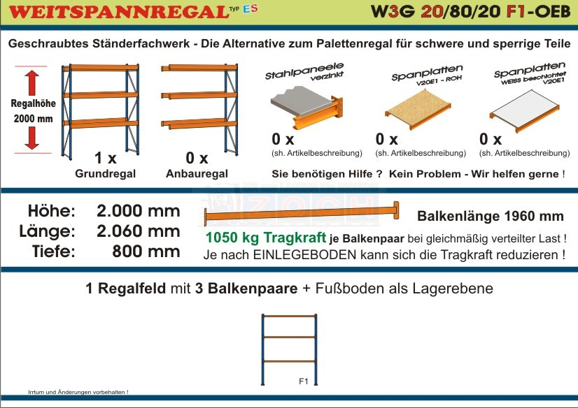 Weitspannregal W3G 20/80-20F1 Länge 2060 mm