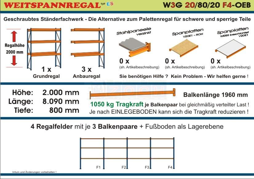 Weitspannregal W3G 20/80-20F4 Länge 8090 mm