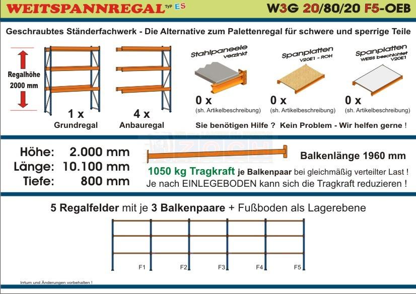 Weitspannregal W3G 20/80-20F5 Länge 10100 mm