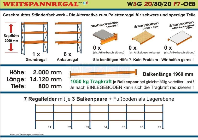 Weitspannregal W3G 20/80-20F7 Länge 14120 mm