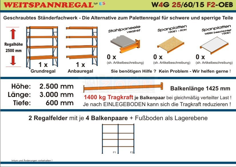 Weitspannregal W4G 25/60-15F2 Länge 3000 mm