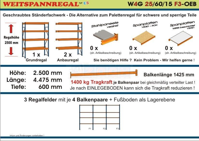 Weitspannregal W4G 25/60-15F3 Länge 4475 mm