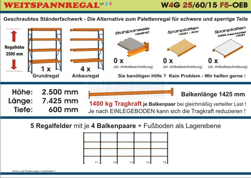 Weitspannregal W4G 25/60-15F5 Länge 7425 mm