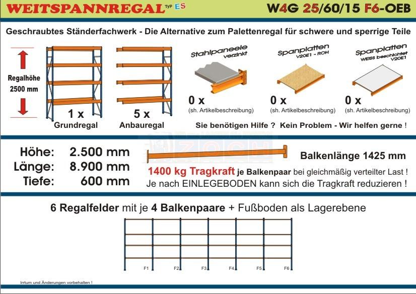 Weitspannregal W4G 25/60-15F6 Länge 8900 mm