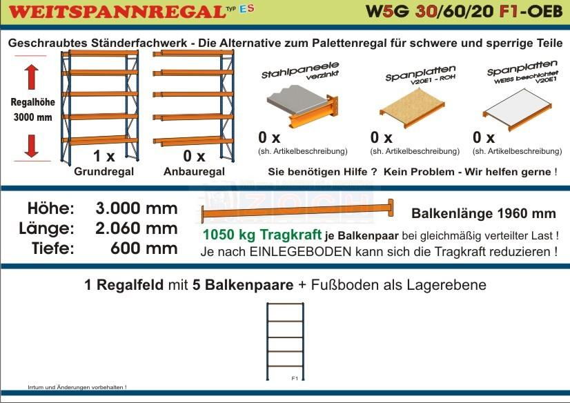 Weitspannregal W5G 30/60-20F1 Länge 2060 mm