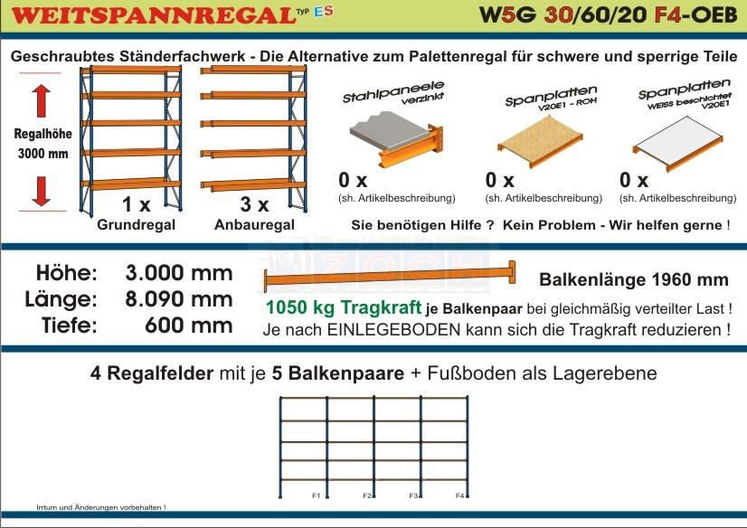 Weitspannregal W5G 30/60-20F3 Länge 6080 mm