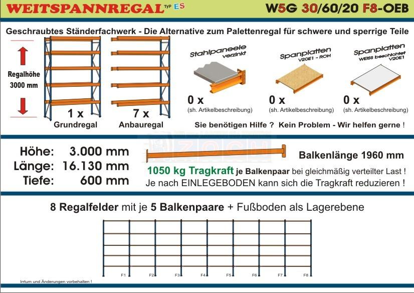 Weitspannregal W5G 30/60-20F8 Länge 16130 mm