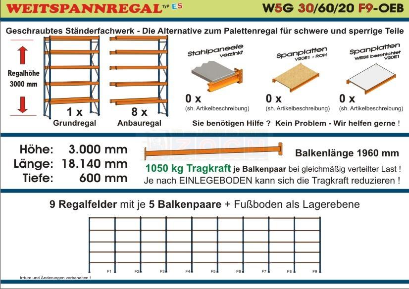 Weitspannregal W5G 30/60-20F9 Länge 18140 mm
