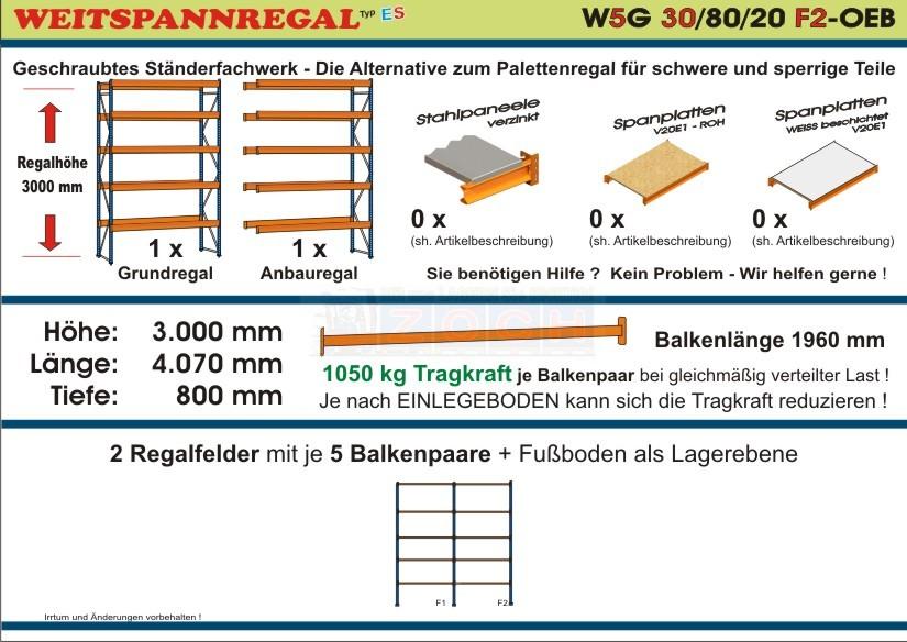 Zoch Weitspannregal W5G 30/80-20F2 Länge 4070 mm