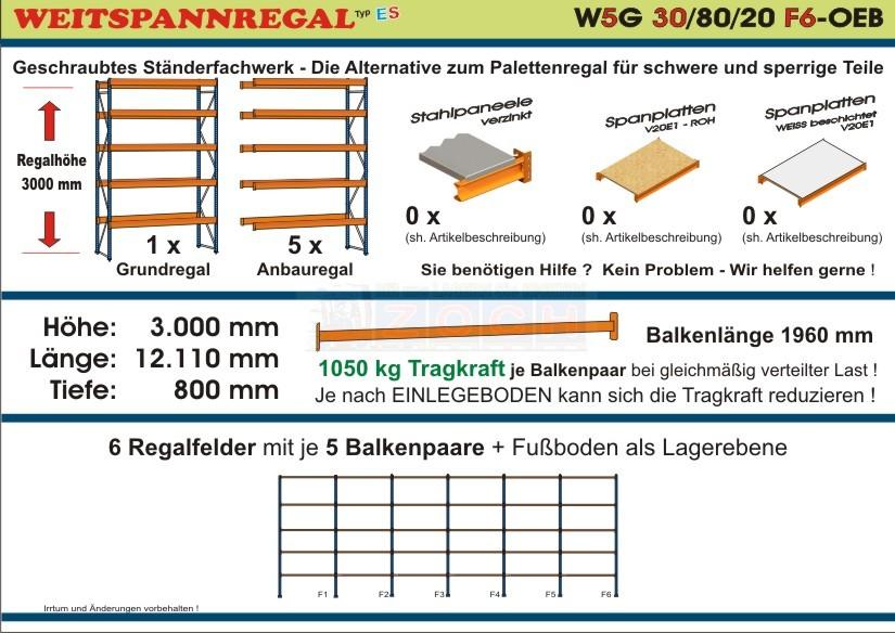 Zoch Weitspannregal W5G 30/80-20F6 Länge 12110 mm