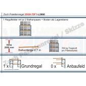 Palettenregal 25G9-70F1 Länge: 2860 mm mit 700kg je Palettenplatz