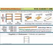 Weitspannregal W3G 20/60-20F1 Länge 2060 mm