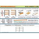Weitspannregal W3G 20/80-20F2 Länge 4070 mm